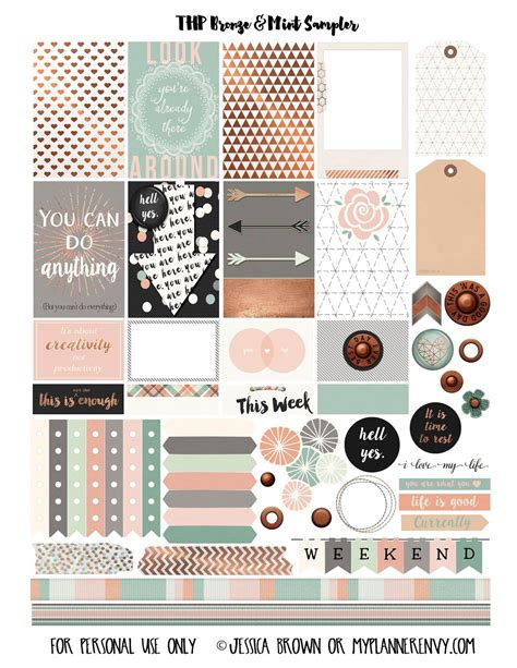 happy planner free printable stickers free printable bronze mint sler for the mambi happy