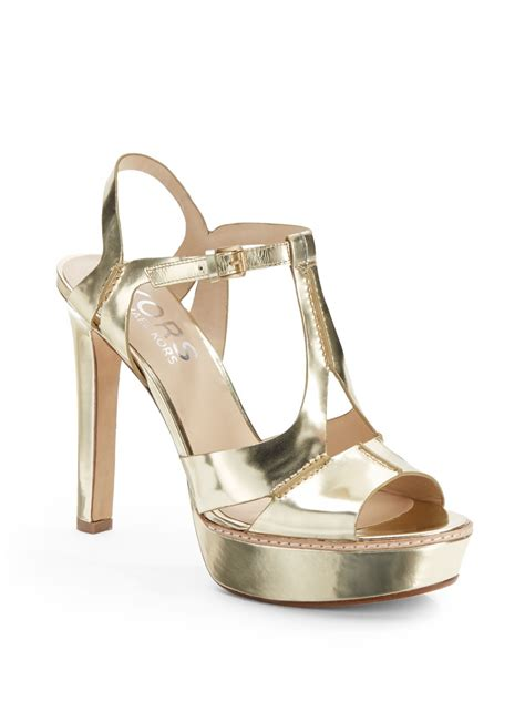 michael kors sandals gold kors by michael kors brookton metallic leather tstrap