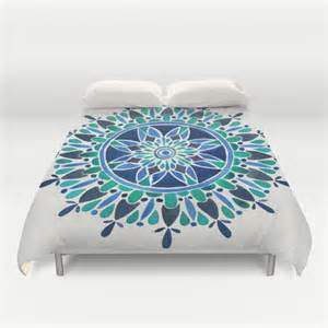 turquoise blue duvet cover blue turquoise mandala duvet cover by cat coquillette