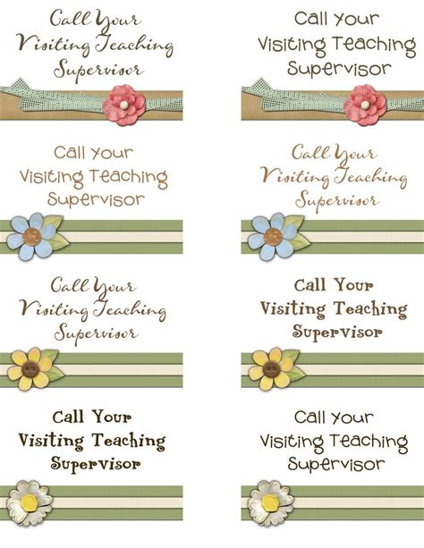 visiting teaching assignment cards template call your visiting teaching supervisor lds visiting