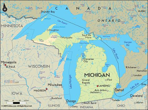 map michigan usa geographical map of michigan and michigan geographical maps