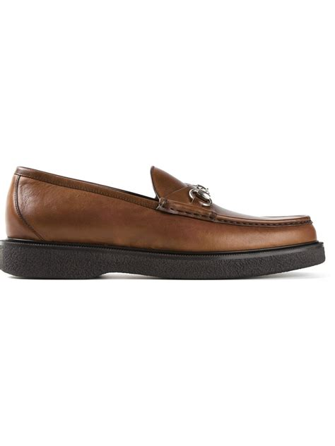 gucci bit loafers gucci bit buckle loafers in brown for lyst