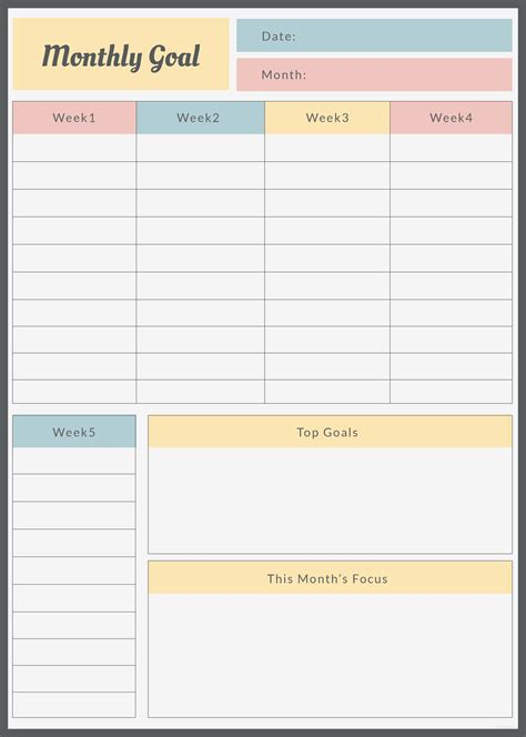 Free Monthly Goal Planner Template In Adobe Photoshop Adobe Illustrator Adobe Indesign Goal Planner Template