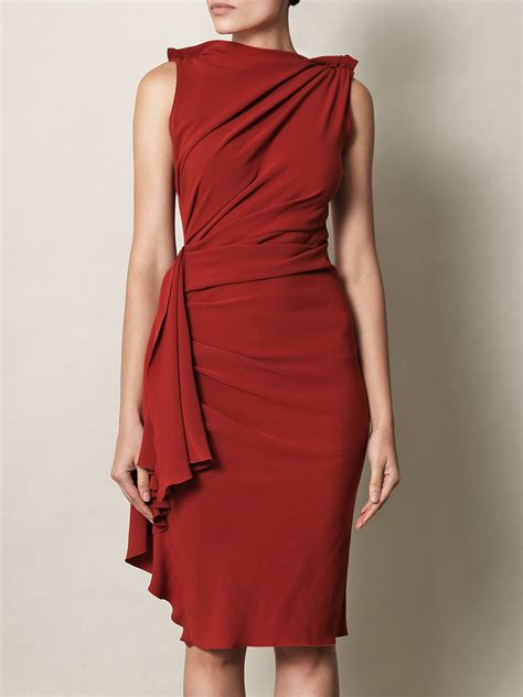 dress drape lanvin techno crepe drape dress in red lyst