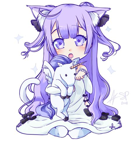 Anime Unicorn by Commission Chibi Neko Unicorn By Stalkingp On Deviantart