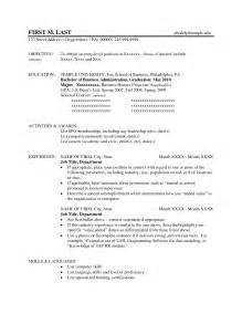 Sle Business Administration Resume by Bachelor Of Business Administration In Finance Template Free Business Template