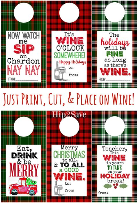 printable christmas wine labels free printable holiday wine tags easy gift idea hip2save