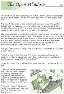 The Open Window Essay by Grade 7 Reading Lesson 1 Stories The Open Window