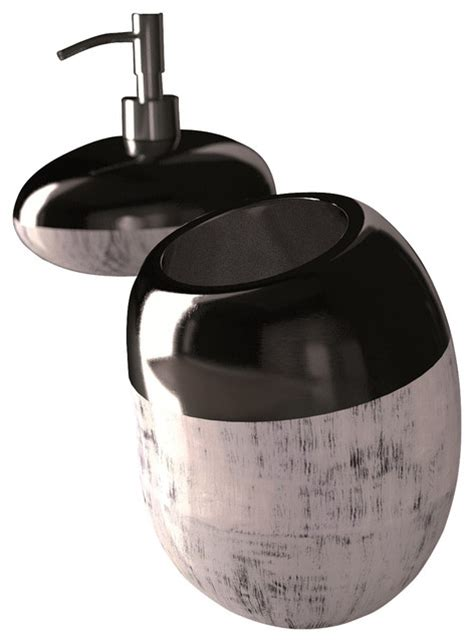 bathroom accessory set black silver modern
