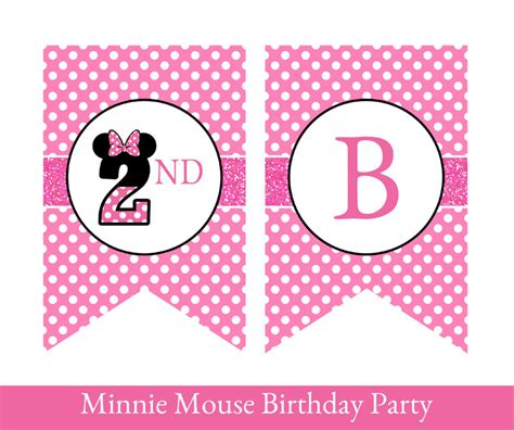 printable minnie birthday banner minnie mouse birthday banner minnie mouse banner minnie