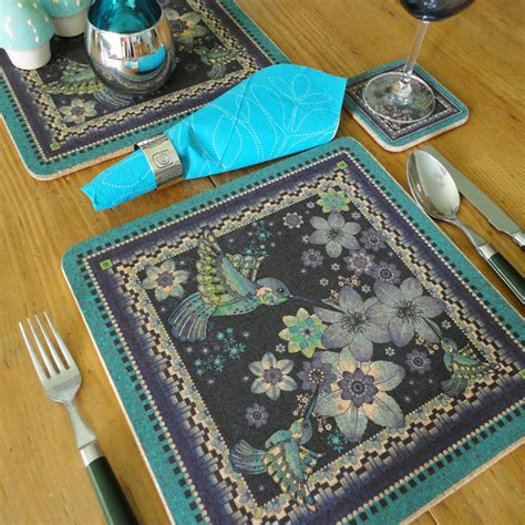 square placemats for table two charm of hummingbirds square cork placemats decorque