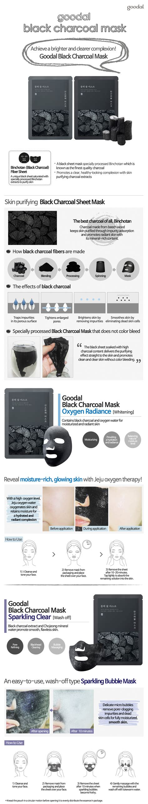 Goodal Black Charcoal Mask 2 Types goodal black charcoal mask 5ea goodal