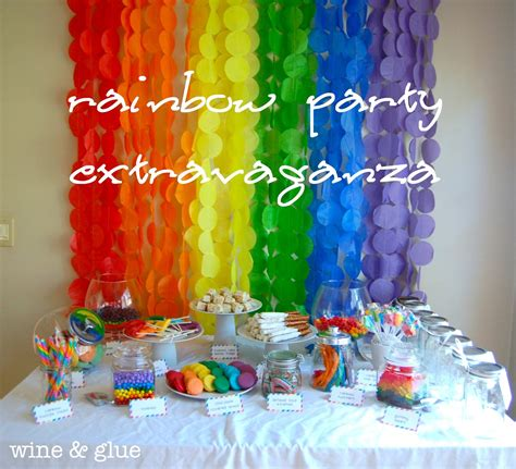party decorating ideas rainbow party extravaganza wine glue