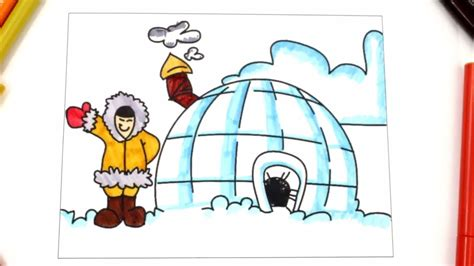 eskimo igloo coloring page coloring igloo learn types of houses house coloring