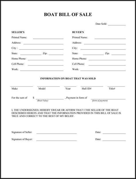 free printable rv bill of sale form form generic