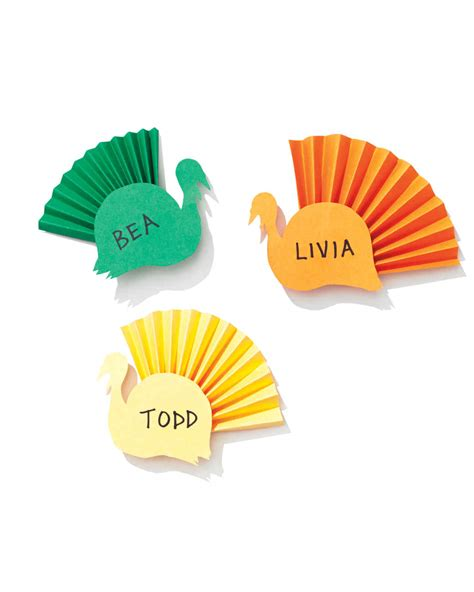 paper source templates place cards colorful paper turkey place cards martha stewart