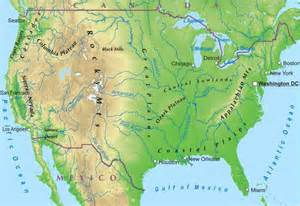 United States Physical Features Map by Us History Ii Geography Cities States Regions