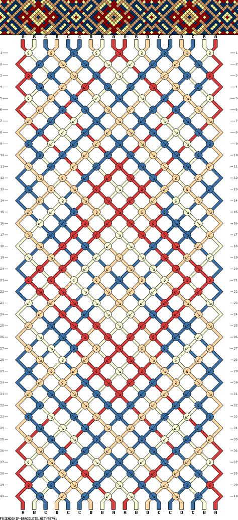 Cool Macrame Bracelet Patterns - friendship bracelet pattern 18 strings 4 colors