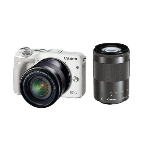 Kamera Canon Mirrorless M3 jual canon eos m3 kit ef m18 55 kamera mirrorless ef m55 200 is stm lensa kamera putih