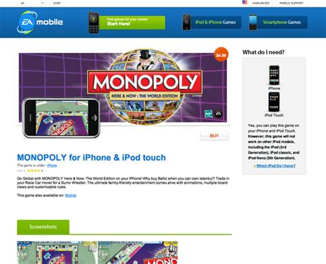 monopoly mobile 40 awesome iphone application websites webdesigner depot