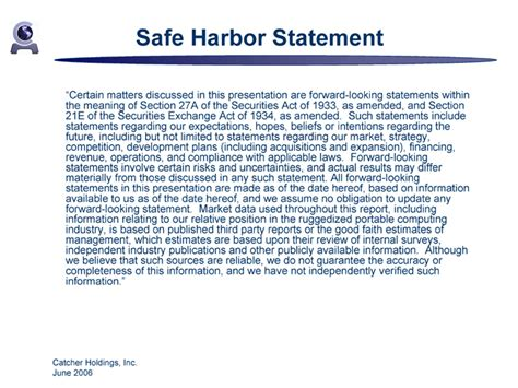 Logo Safe Harbor Statement Template