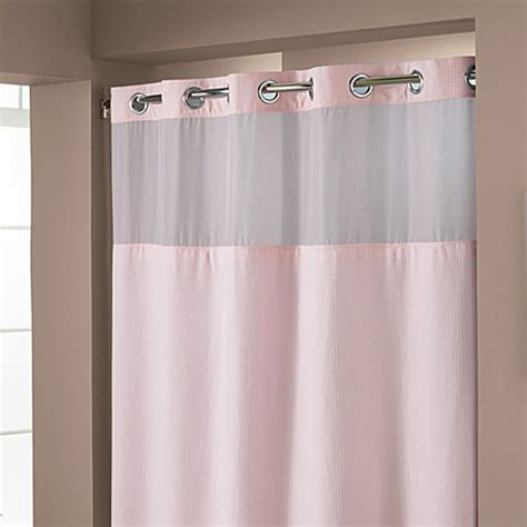 pink shower curtain liner hookless 174 waffle pink 71 quot x 74 quot fabric shower curtain and