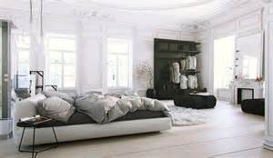 parisian apartment soft white bedroom with light
