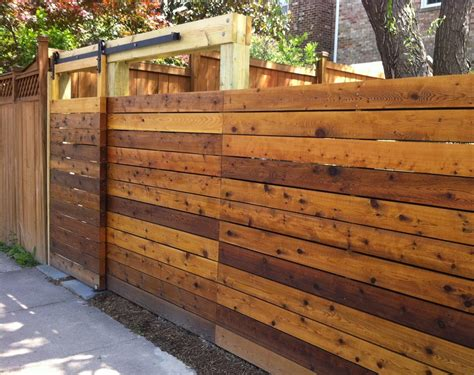 wood fence with sliding gate garden privacy ideas