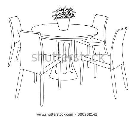 Drawing Dining Room by Home Design Decorative Drawing Dining Room Stock Vector