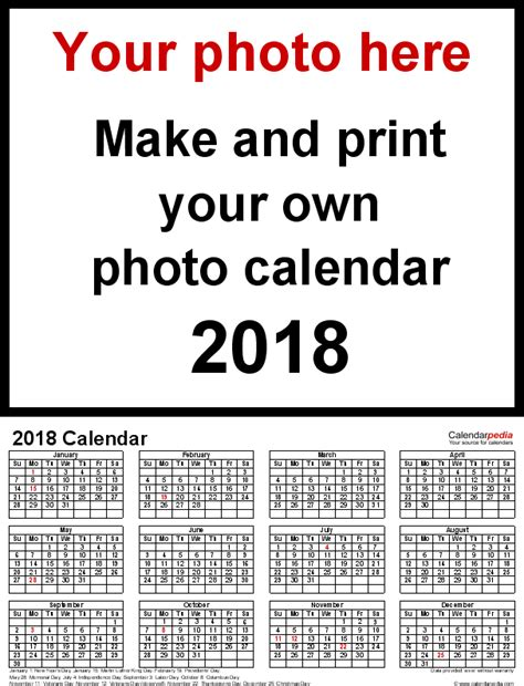 Calendar 2018 Photos Photo Calendar 2018 Free Printable Pdf Templates