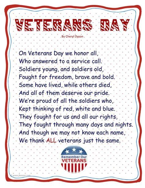 Veteran S Day Poem For Preschool Veterans Day Program Template
