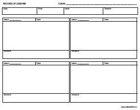 Esl Certificates Lesson Plan Templates Attendance Sheets Esl Lesson Plan Template