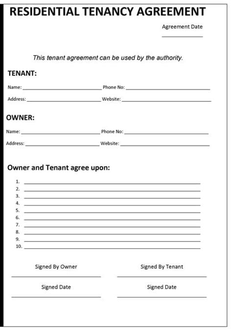tennancy agreement template sle ms office templates