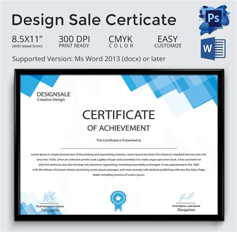 design of certificate template achievement award template 12 word pdf documents