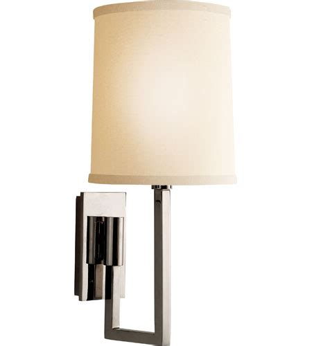 L Shade Sconce by Visual Comfort Barbara Barry Aspect Library Sconce In Polished Nickel With Ivory Linen Shade
