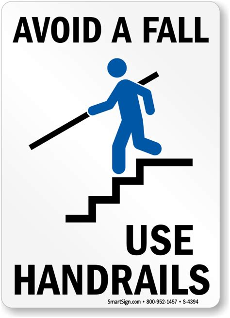 Staircase Riser by Avoid Fall Use Handrails Staircase Sign With Graphic Sku