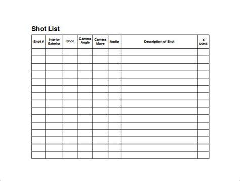 shotlist template sle list template 8 free documents in