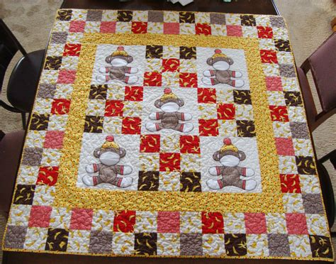 quilted sock pattern show and tell sock monkey baby quilt quilt addicts anonymous