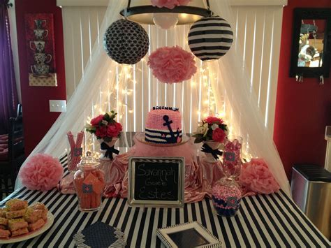 Navy blue & pink baby shower   Pink and Navy Baby Shower