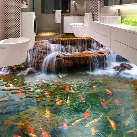 bedroom waterfalls custom 3d floor wallpaper hd waterfall carp bathroom floor