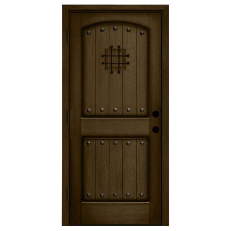 Steves And Sons Interior Doors Steves Sons 36 In X 80 In Rustic 2 Panel Speakeasy Stained Mahogany Wood Prehung Front Door