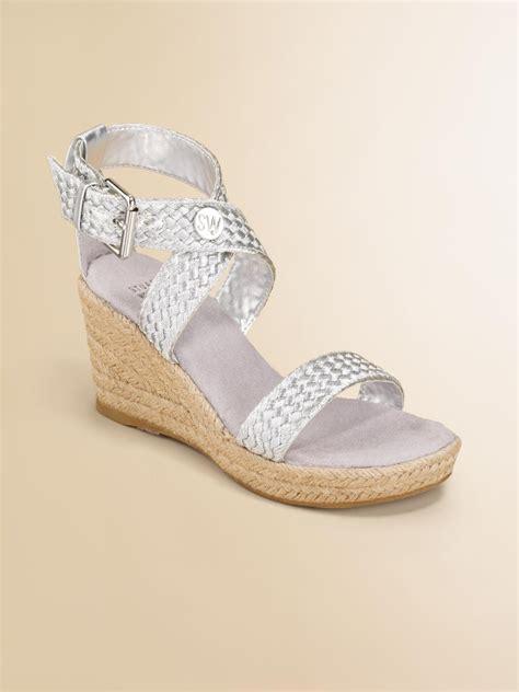 stuart weitzman braided wedge sandals in silver lyst