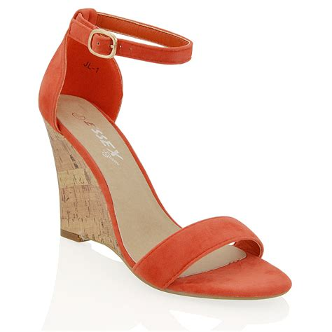 new womens wedge heel strappy peep toe ankle