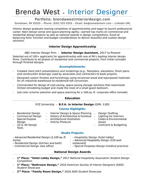 Resumes For Interior Designers by Interior Design Resume Sle