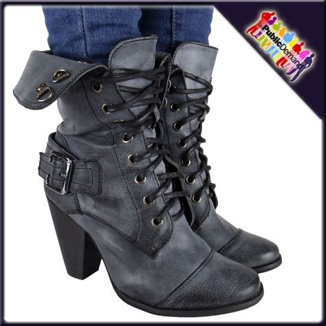 high heeled army boots black high heel army boots sz 3 8 ebay