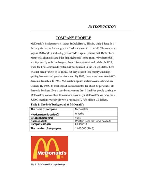 restaurant profile template effectivity of marketing strategies adoped by mcdonalds in