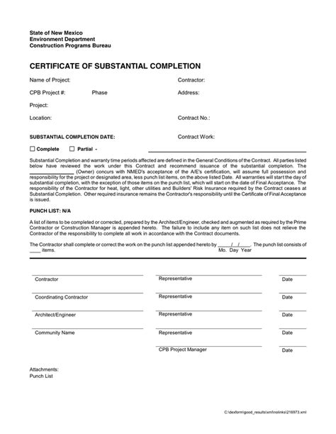 certificate of substantial completion template doc 7281019 completion form template of certificate