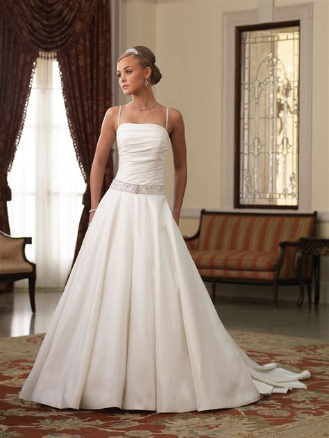 simple ball gown wedding dress with spaghetti