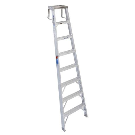 Step Ladder Shelf by Werner 8 Ft Aluminum Shelf Step Ladder With 300 Lb Load Capacity Type Ia Sh378 The Home Depot