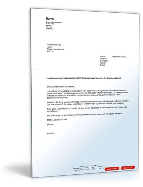 Musterbriefe Unternehmen K 252 Ndigung Eines Mietvertrags F 252 R Parkpl 228 Tze Muster Vorlage Zum